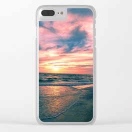 Beach Sunset Clear iPhone Case