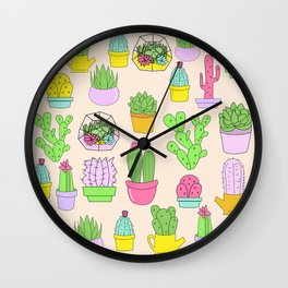 Succulents Cactus Pastel Pattern Desert Nature Wall Clock