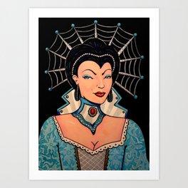 Blue Pinup SciFi Ice Queen by Liz Carroll Art Print