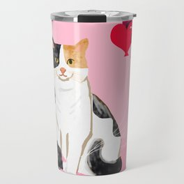 Calico Cat love heart balloons cat lady cat gifts cat person must have Travel Mug
