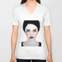 glitch V-neck T-shirts featuring Glitch by Hiba Khan Art