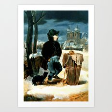Pretzel-boy, after Peter Fendi Art Print