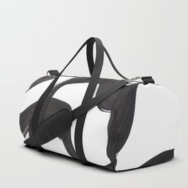 Black And White Minimalist Mid Century Abstract Ink Art Ripple Maze Lines Retro Style Duffle Bag