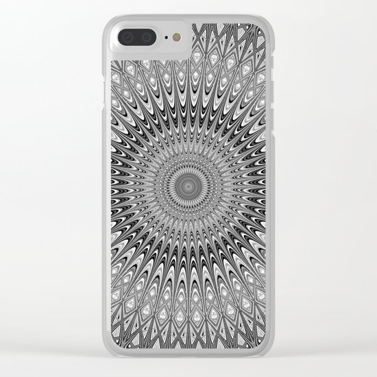 Grey mandala Clear iPhone Case