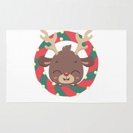 Cute reindeer and goodies in christmas stocking Rug