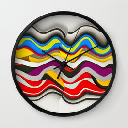 Colored Waves Wall Clock