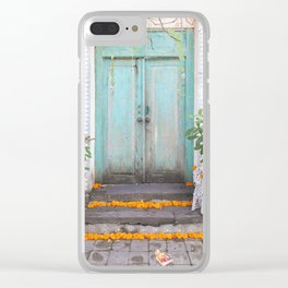 Turquoise Door Clear iPhone Case