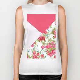 Geometric pink red white roses floral color block pattern Biker Tank