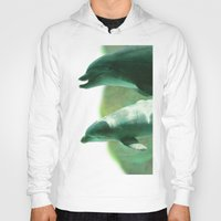 dolphins Hoodies featuring Two Dolphins by Roger Wedegis