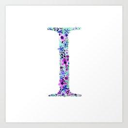 Floral Monogram Letter I Art Print