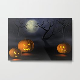 II - Halloween pumpkins in a spooky forest at night Metal Print