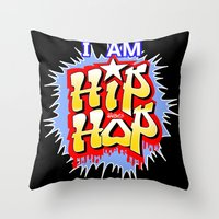 hip hop Throw Pillows featuring HIP-HOP by DaeSyne Artworks