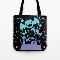 pastel goth Tote Bags featuring Creepy Cute Fairy Kei Pastel Goth Bats, Stars, and Crescent Moons by KawaiiMachine