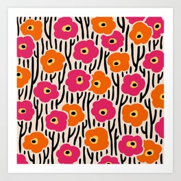 Mid Century Modern Wild Flowers Pattern Pink and Orange Art Print