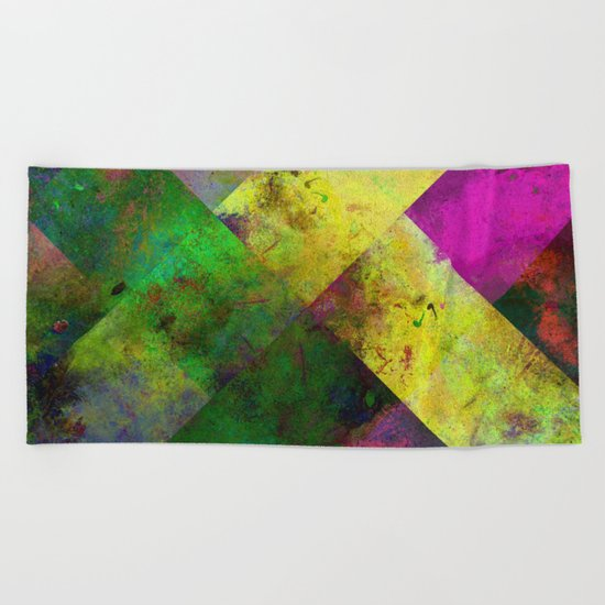 Dark Diamonds - Textured, patterned painting Beach Towel