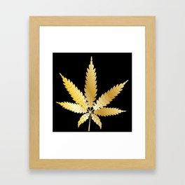 Gold Cannabis Leaf Framed Art Print