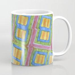 Pastel Colored Striped Squares Pattern  Coffee Mug