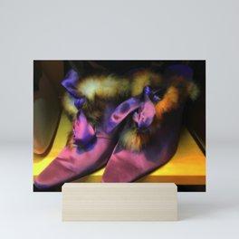 Purple Vintage Shoes with Fur | Fashion Mini Art Print