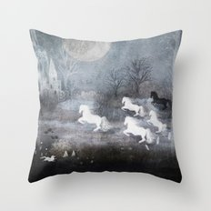 Five Horses and a Fox Throw Pillow
