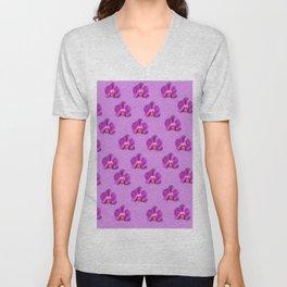 Purple Butterfly Orchids Patterns Golden Art Unisex V-Neck