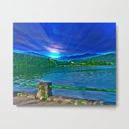 Sun over Lake Schliersee bavaria Germany Metal Print