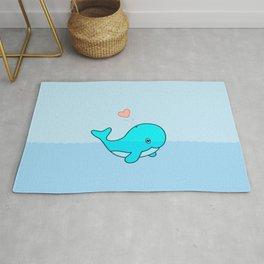 Cute Whale Loves To Swim Rug