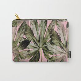 Large green leaves on a pink background - beautiful colors Carry-All Pouch
