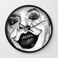 jack nicholson Wall Clocks featuring Jack Nicholson Joker Stippling Portrait by Joanna Albright