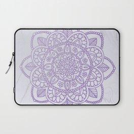 Lavender Mandala on White Marble Laptop Sleeve