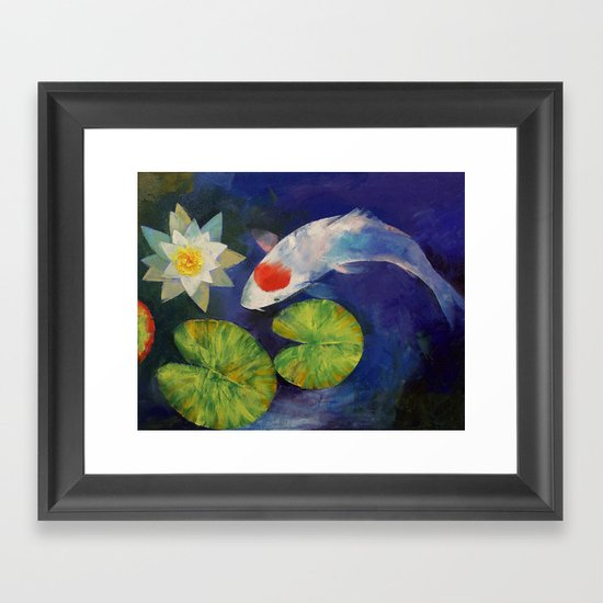 Tancho Koi and Water Lily Framed Art Print