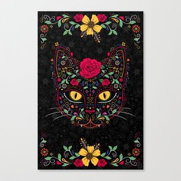 Day of the Dead Kitty Cat Sugar Skull Canvas Print