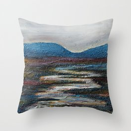 The bog river through Connemara, Ireland by Machale O'Neill Throw Pillow