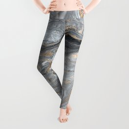 Marble Glitter Gold Fluid Painting Pouring Jupiter Surface Glamorous Shiny Metallic Accents Leggings