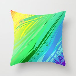 Background with Rainbow Paint Throw Pillow