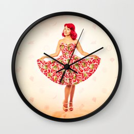 """Check Out These Melons"" - The Playful Pinup - Girl in Watermelon Dress by Maxwell H. Johnson Wall Clock"
