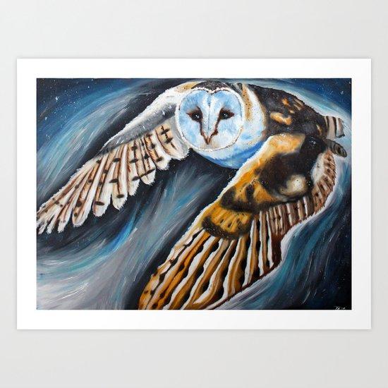 Night Owl in flight Art Print