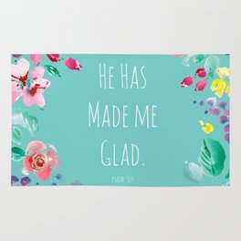 He has made me glad Bible quote Rug