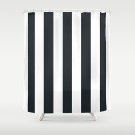 Dark gunmetal blue - solid color - white vertical lines pattern Shower Curtain