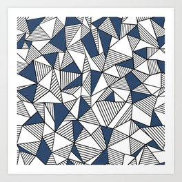 Abstraction Lines with Navy Blocks Art Print