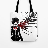 tokyo ghoul Tote Bags featuring tokyo ghoul  Touka by Lee Chao Charlie Vang