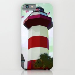 Harbour Town - Hilton Head, South Carolina - candy cane lighthouse - modern nautical photography art iPhone Case