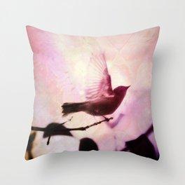 Boho Bird Taking Flight Pink Purple Glow Throw Pillow