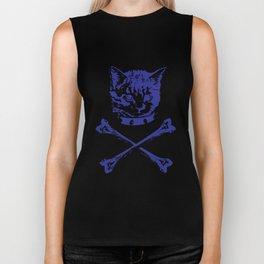 womens kitten crossbones American Bella tri blend gray available in WorldWide Shipping pirate Biker Tank