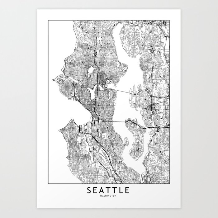 Seattle White Map Art Print By Multiplicity Society6
