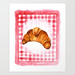 Croissant Kitchen Art, French Kitchen Decor Art Print