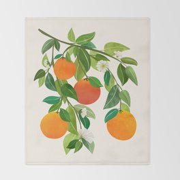 Oranges and Blossoms II / Tropical Fruit Illustration Throw Blanket