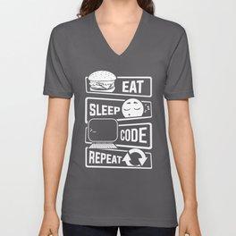 Eat Sleep Code Repeat - Computer Programmer CLI Unisex V-Neck