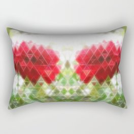 Red Rose with Light 1 Art Triangles 2 Rectangular Pillow