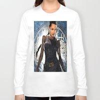 lara croft Long Sleeve T-shirts featuring Angelina Jolie as Lara Croft by Brian Raggatt