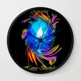 Zodiac sign Aquarius  Happy Birthday Wall Clock